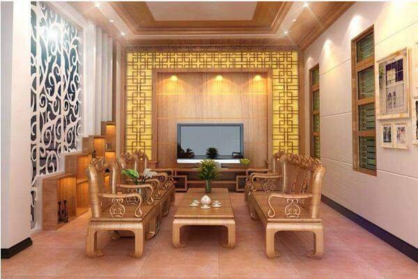 Phòng khách thiết kế sang trọng với nội thất gỗ